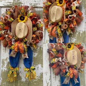 Fall Autumn Scarecrow with Hat & Sunflower Wreath